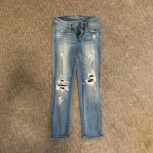 American Eagle Cropped Ripped Jeans